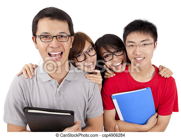 Four happy students standing together with fun, while smiling and looking at camera isolated on white background.   - csp4906284