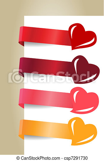 Four horizontal promotion labels with different hearts - csp7291730