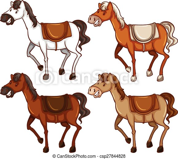 four horses on a white background vector illustration search rh canstockphoto com clip art horses black and white clipart horses