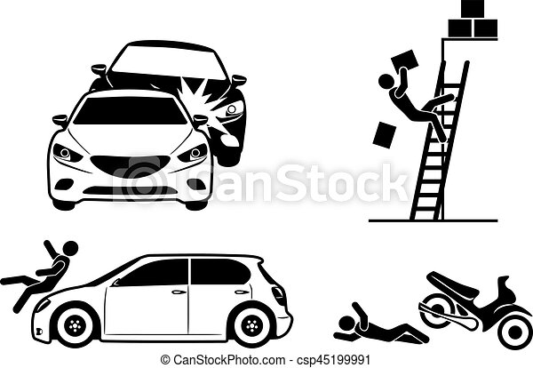 Four icons for accident insurance - csp45199991