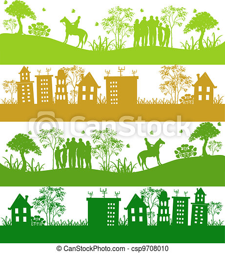Four icons.Green ecological planet - csp9708010