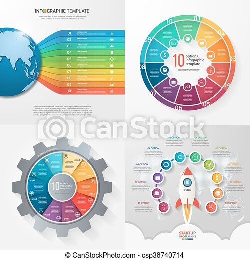 Four infographic templates with 10 steps, options, parts, processes. Business concept. - csp38740714