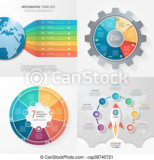 Four infographic templates with 7 steps options parts processes four infographic templates with 7 steps options parts processes business concept cheaphphosting Images