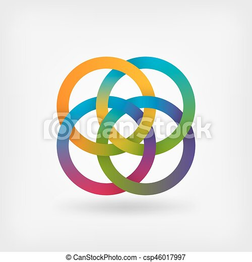 four interlocked rings in rainbow colors - csp46017997