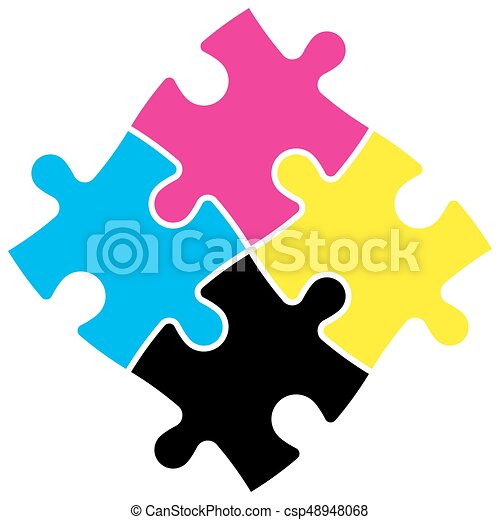 Four Jigsaw Puzzle Pieces In Cmyk Colors Printer Theme Vector Illustration