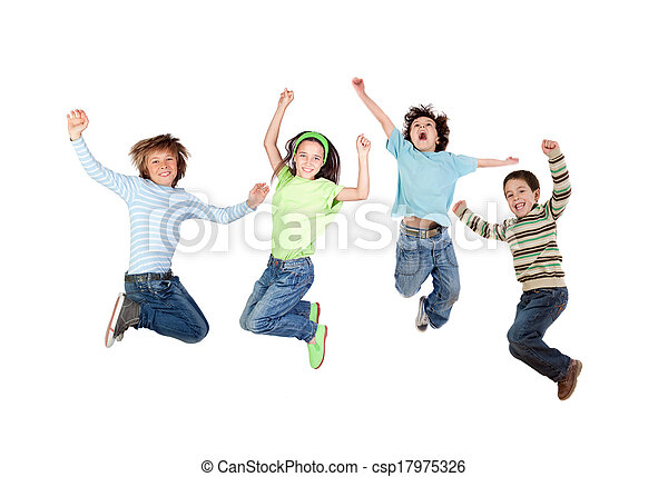 Four joyful children jumping - csp17975326