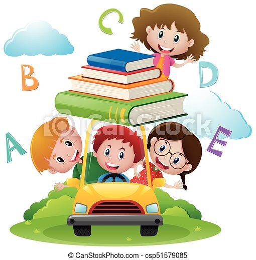 Four kids driving car with books illustration.