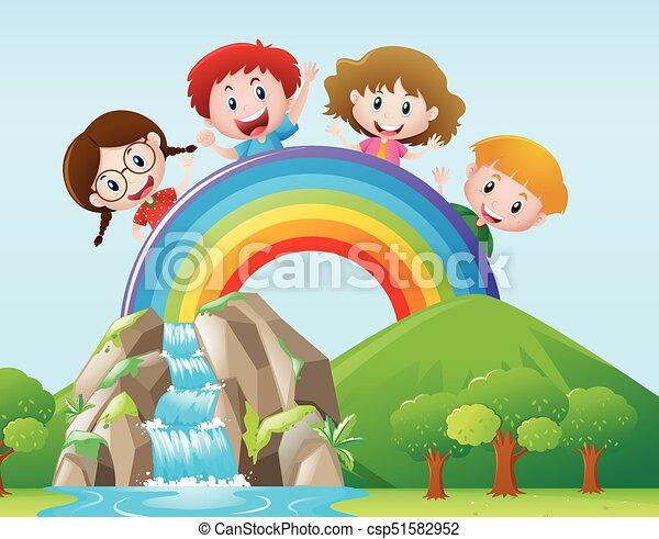 Four kids on the rainbow - csp51582952