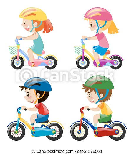 Four Kids Riding Bicycle On White Background Illustration