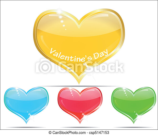 Four krasivyz glass hearts - csp5147153