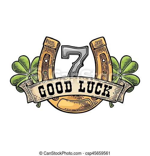 Four Leaf Clover Horseshoe Number Seven Ribbon Text Good Luck