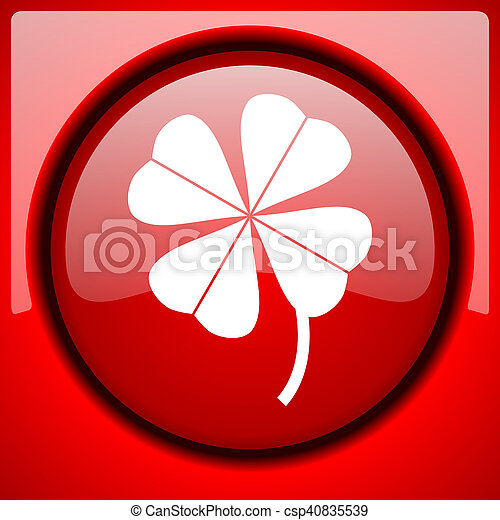 four-leaf clover red icon plastic glossy button - csp40835539