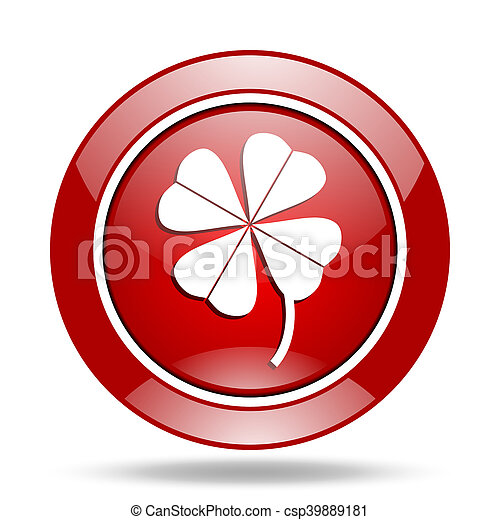 four-leaf clover red web glossy round icon - csp39889181