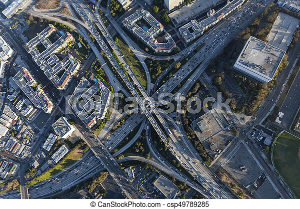 Four Level Hollywood Freeway Interchange in Los Angeles Calfiornia - csp49789285