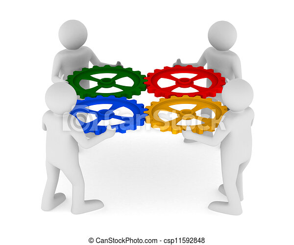 four man with color gear on white background. Isolated 3D image - csp11592848