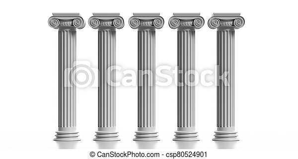 Four marble pillars columns classic greek isolated against white background. 3d illustration - csp80524901