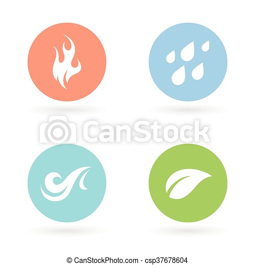 Four Natural Elements Icons Earth Water Fire And Air The Four