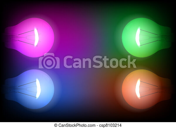 Four neon light bulb illustration - csp8103214