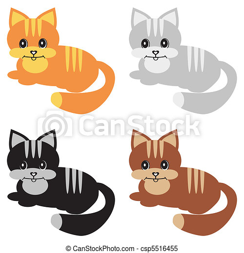 four nice cats on white - csp5516455