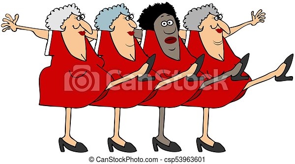 Four old women in a chorus line - csp53963601