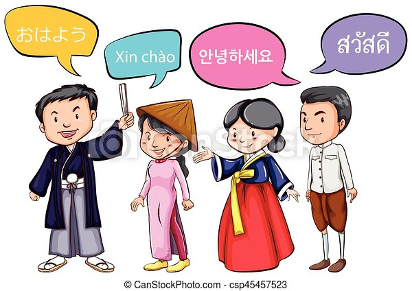 four people greeting in different languages illustration vector rh canstockphoto com birthday greeting clipart greeting clipart free