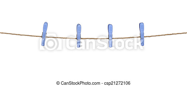 Four plastic clothespins on rope - csp21272106