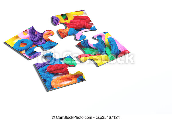 Four puzzle pieces with hairbands - csp35467124