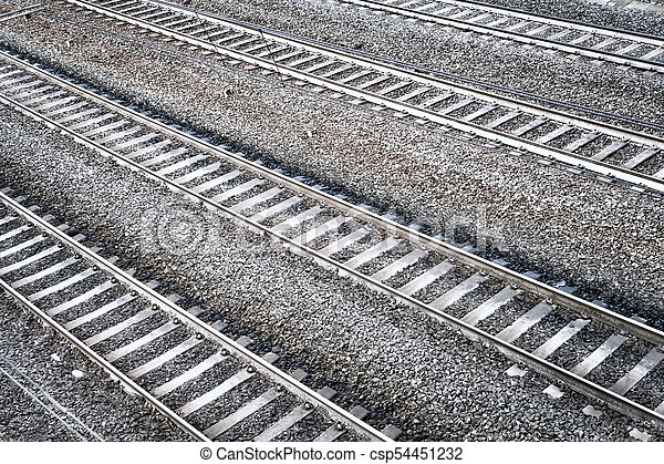Four railroad tracks. Aerial perspective view. - csp54451232