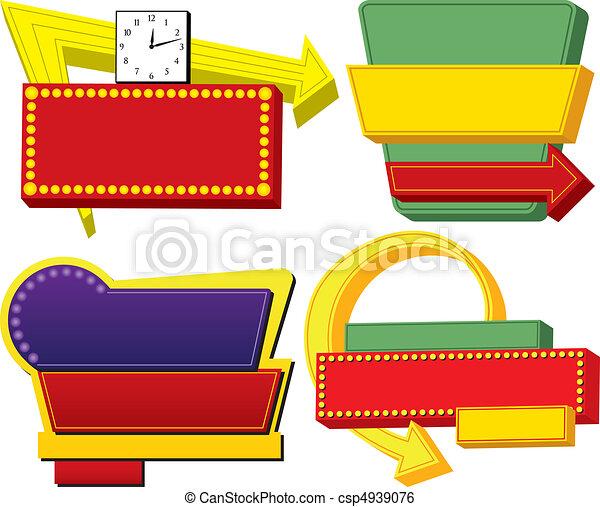 Four Retro Advertising Signs - csp4939076