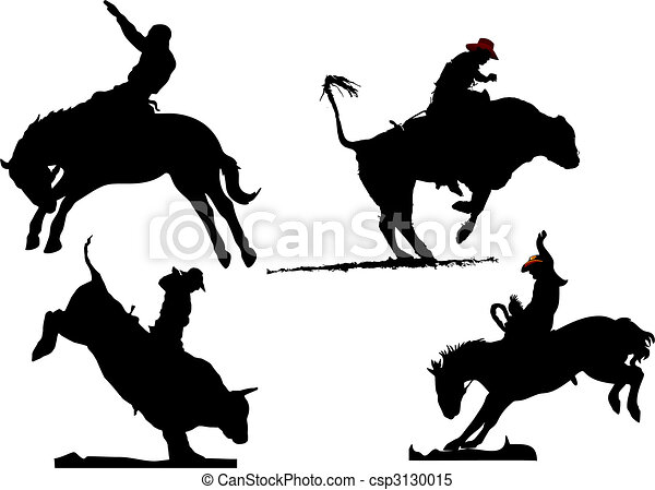 Four rodeo silhouettes. Black and white Vector illustration - csp3130015