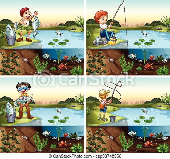Four scenes of boy fishing in the pond - csp33748356