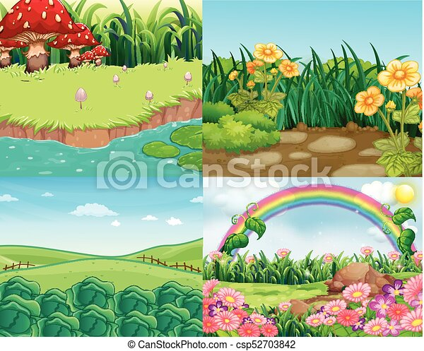 Four scenes with vegetables and flowers - csp52703842