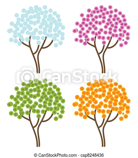 four seasons abstract trees - csp8248436