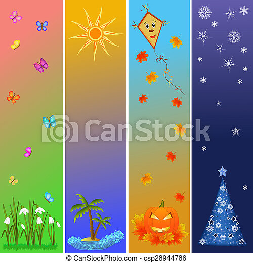 Four Seasons Bookmarks Colorful Four Seasons Symbols Pictures