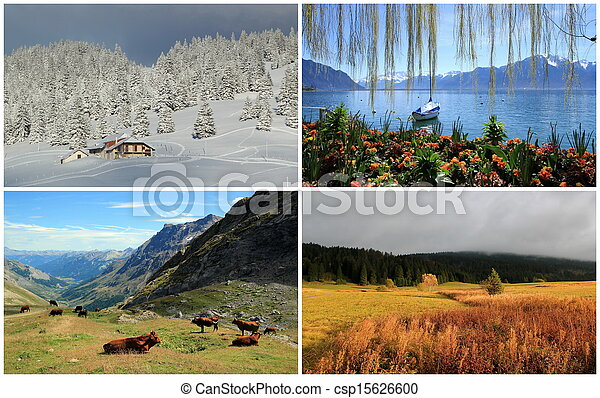 Four seasons collage - csp15626600 - Four Seasons Collage. Four Seasons Landscape Collage : Spring