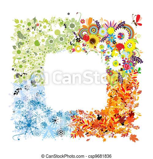 Four seasons frame - spring, summer, autumn, winter.  - csp9681836