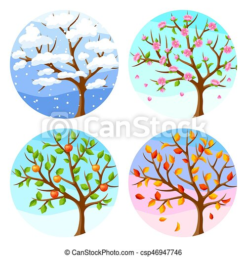Four seasons. Illustration of tree and landscape in winter, spring, summer, autumn. - csp46947746