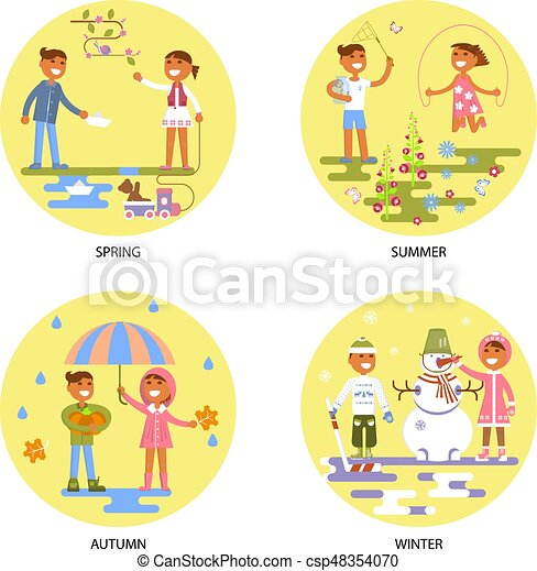 Four seasons set with babies - csp48354070