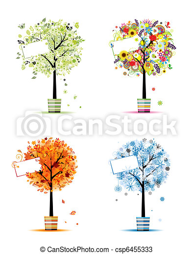 Four seasons - spring, summer, autumn, winter. Art trees in pots for your design - csp6455333