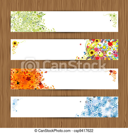 Four seasons - spring, summer, autumn, winter. Banners with place for your text - csp9417622