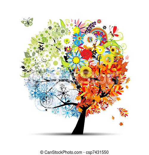 Four seasons - spring, summer, autumn, winter. Art tree beautiful for your design  - csp7431550