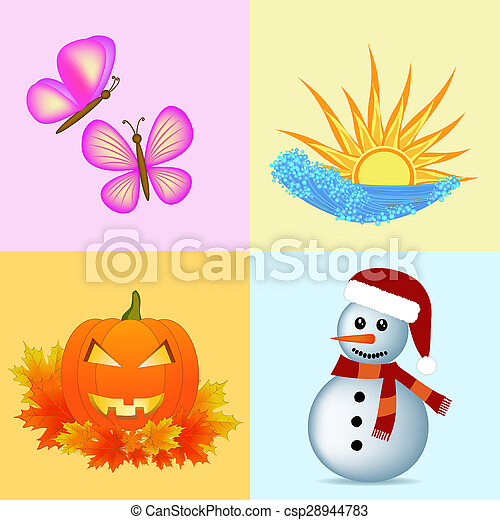 Colorful Four Seasons Symbols Illustration Pictures Search