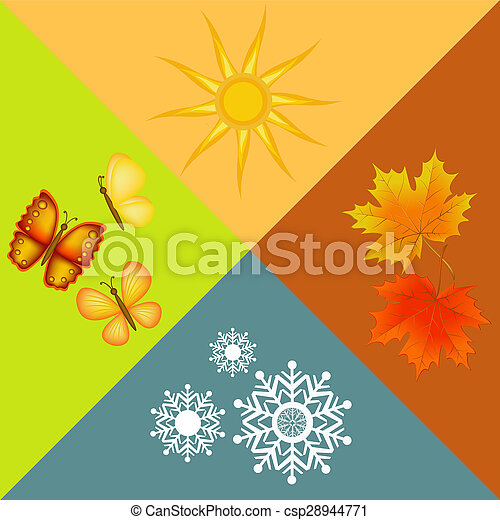 Colorful Four Seasons Symbols Illustration Picture Search Photo