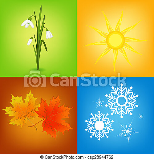 Colorful Four Seasons Symbols Illustration Stock Image Search