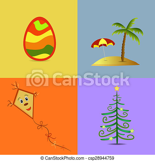 Colorful Four Seasons Symbols Illustration Stock Images Search