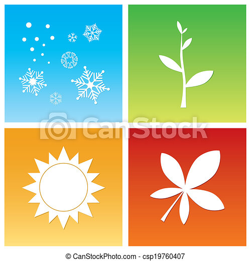 Four Seasons Vector Illustration Simple Symbols Of Four Vector