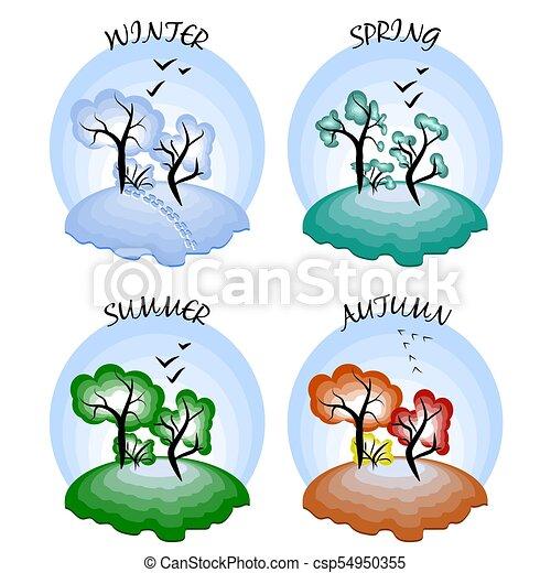 four seasons winter spring summer autumn vector illustration rh canstockphoto com spring season clipart png spring season clip art free