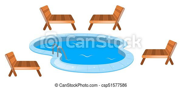 Four seats around swimming pool illustration vector Search Clip