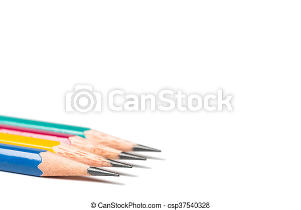 four sharpen pencils isolated on white background. - csp37540328