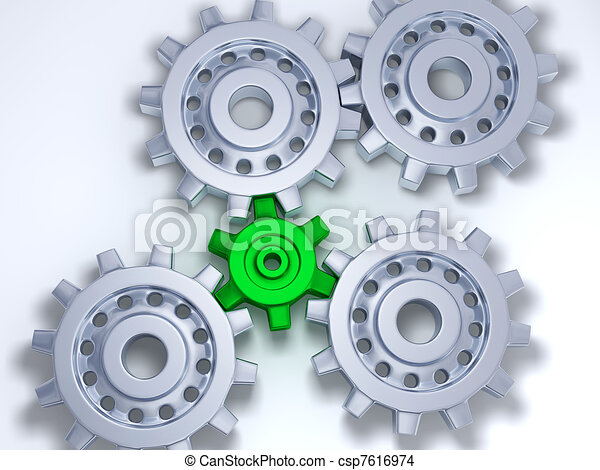 Four silver gears with one green - csp7616974